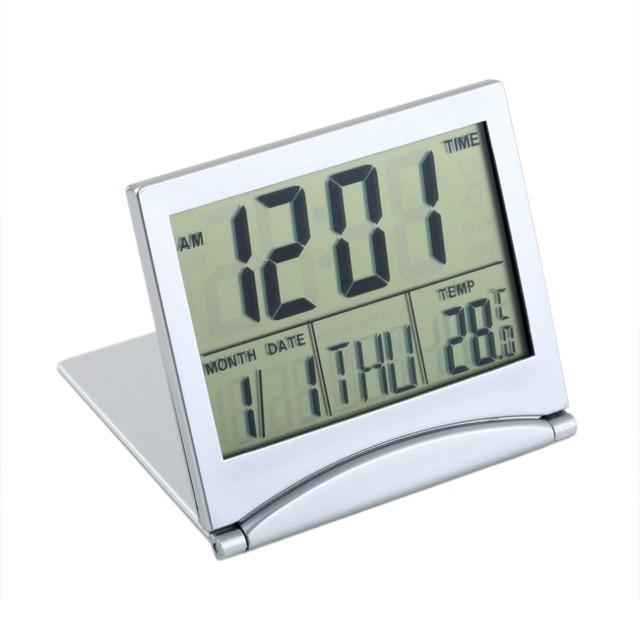 2017 newMini Flexible Single Face Calendar Alarm Clock Desk Digital LCD Display Thermometer Cover Display Date Time Temperature