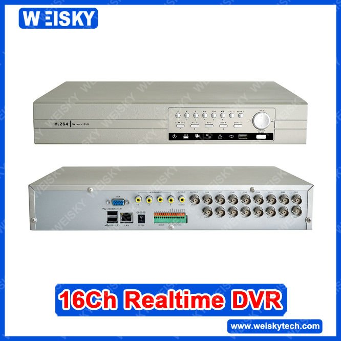 WEISKY 16CH H.264 cctv dvr+Support 2ch Full D1 realtime + 6ch Full CIF realtime recording resolution