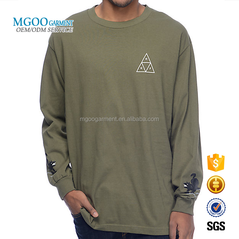 Mgoo Garment Custom Best Print On Demand T Shirts Full Sleeve Men