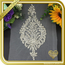 Bling crystal hand embroidery designs bridal handwork rhinestone applique for dress FHA-013