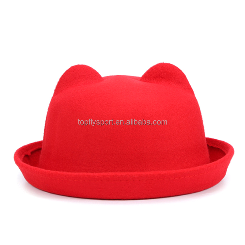 Custom fashion fedora hats and blank wholesale fedora hats with cute ear