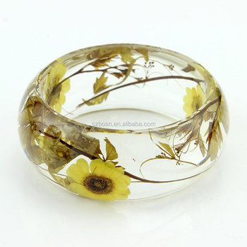 Custom Cheap Acrylic Cuff Real Flower Botanical Garden Resin Bangle Bracelet