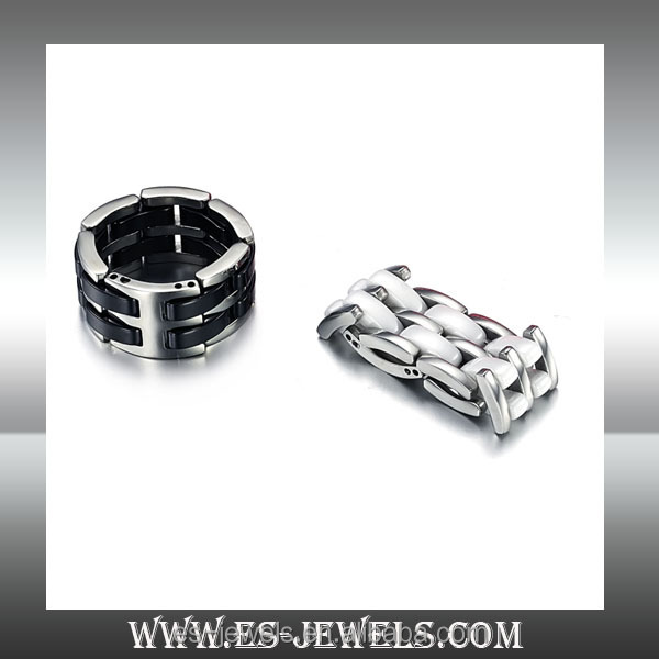 Fashion jewelry 18K White and Black Double row of ceramic Ring stainless steel for men