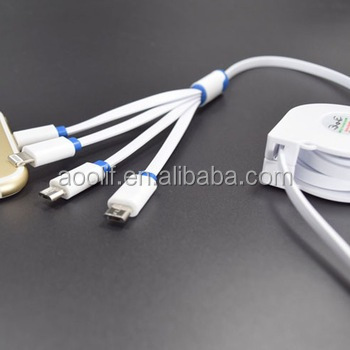 Low profile mobile charger multi connector 4 IN 1 retractable usb cable