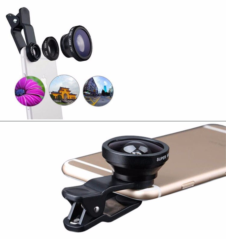 2017 hot sale new clip smartphone lens 3 in 1 clip on camera lens