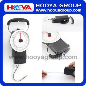 Mechanical portable luggage scale with tape measure