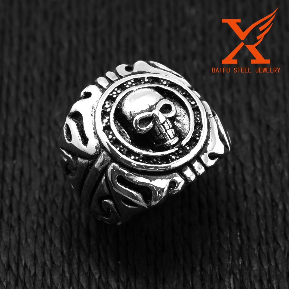 In Stock Wholesale Lot Luxury Jewelry Elegant Latest New Design Men's Boy's Stainless Steel Silver Skull Shield Wide Cast Ring