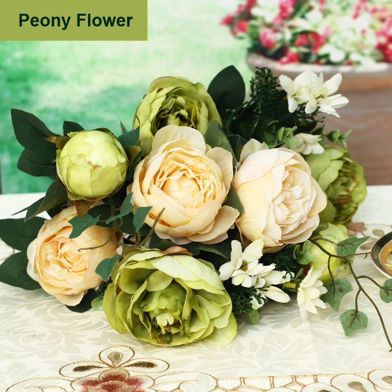 Cream or Green Hydrangeas and Green Peonies Silk Flowers for Wedding Decorations