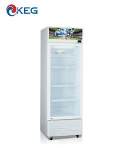 300L Glass Door Vertical Freezer Beverage Display Cooler Cold Drink Fridge Showcase Commercial Refrigerator