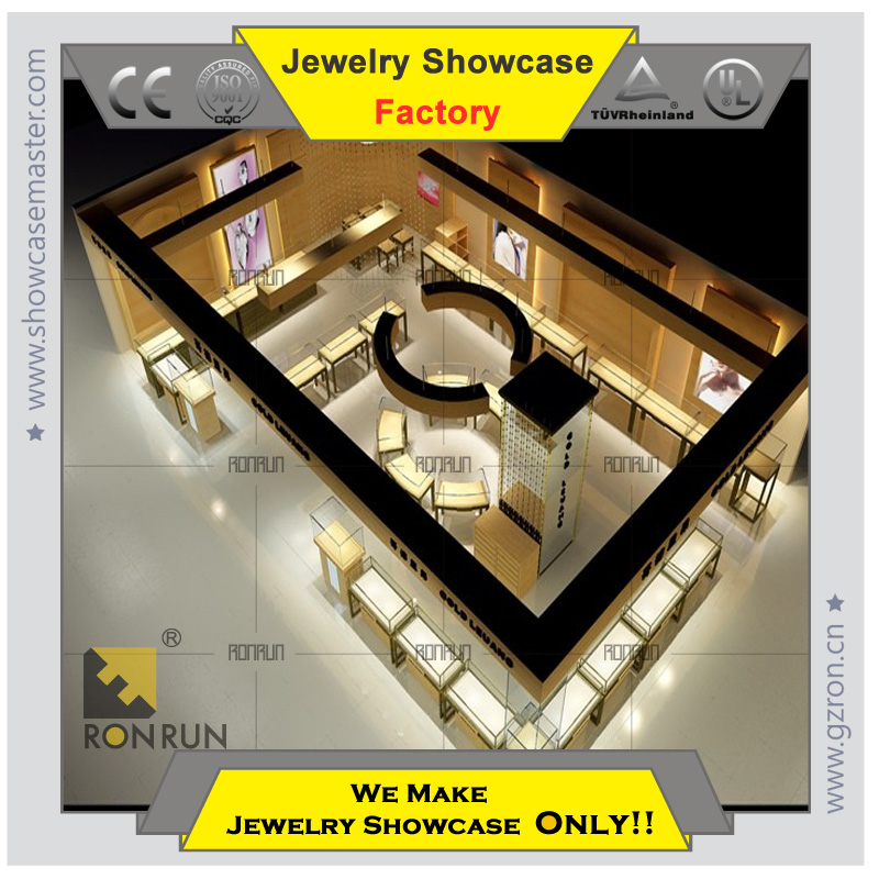 trade show Jewelry display cabinet with champagne gold stainless steel jewelry store furniture
