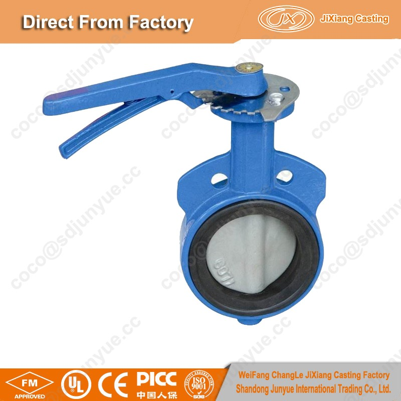 ISO9001 Precision Top Quality 4inch cast iron wafer type butterfly valve
