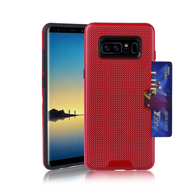 For Samsung Galaxy Note 8 Colorful TPU+PC net grid cooling Wallet credit Card Slots functional cell phone Case