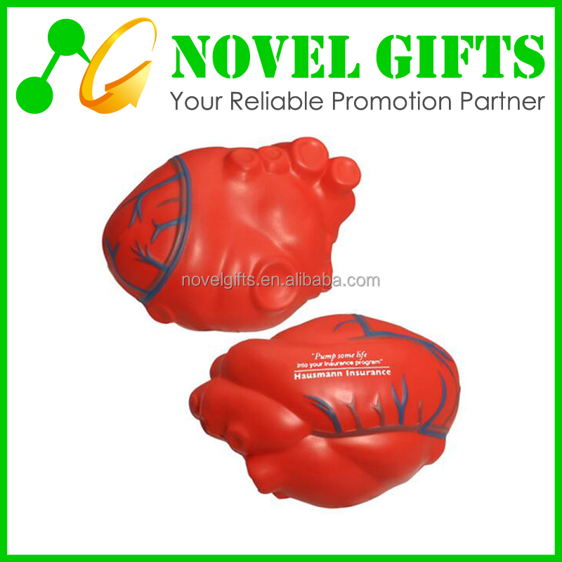 Promotion Custom Heart Shape PU Foam Stress Reliever Ball