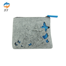 Special design cute felt cosmetic bag with 3D butterfly
