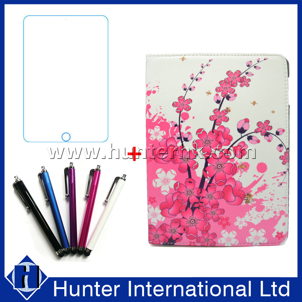 With Screen Protector Floral Design Rotatable Case