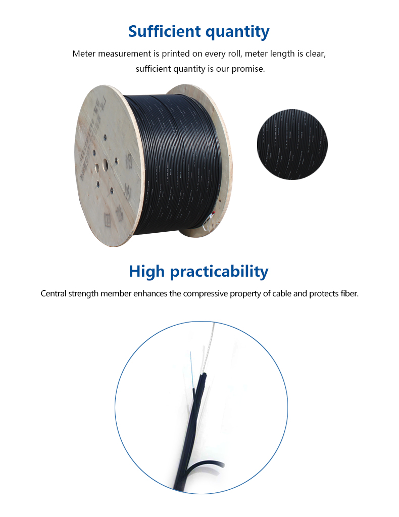 Outdoor aerial drop cable optical fiber cable  with messenger wire