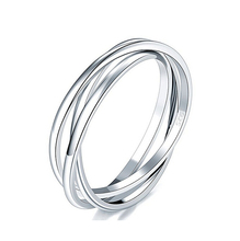 925 Sterling Silver Ring Triple Interlocked Rolling High Polish Stackable Silver Ring
