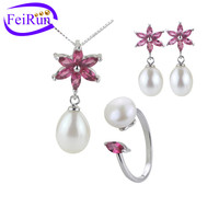 8mm AAA grade freshwater fashion design drop pearl earring ring and pendant set