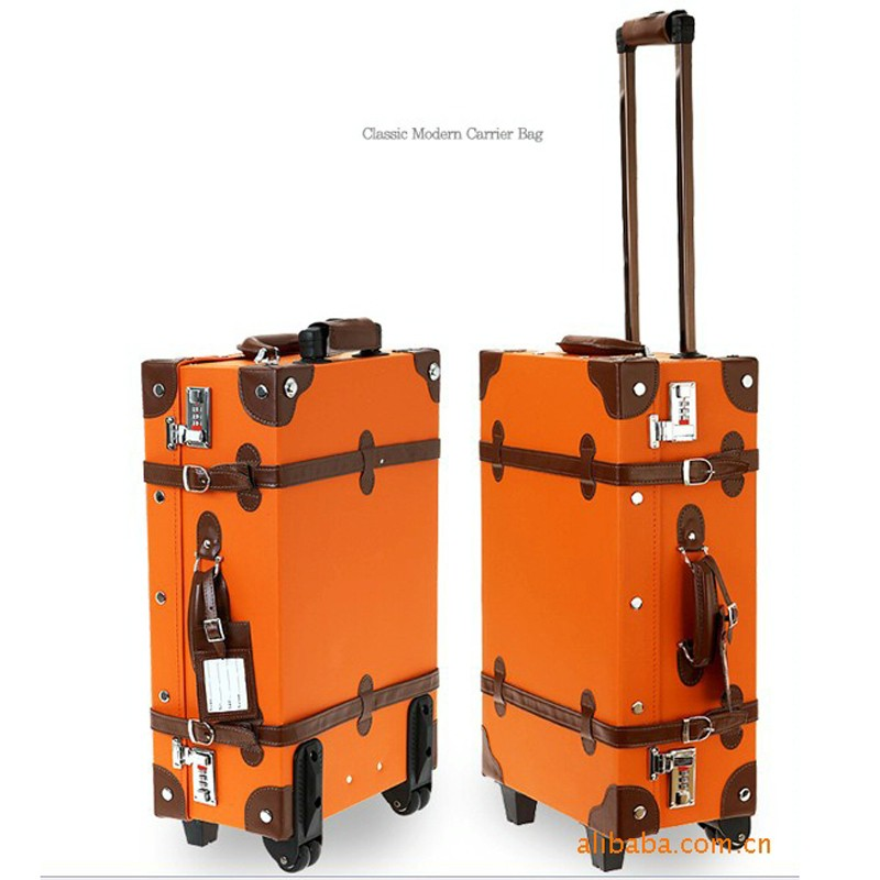 PU vintage suitcase travel trolley vintage luggage leather suitcase