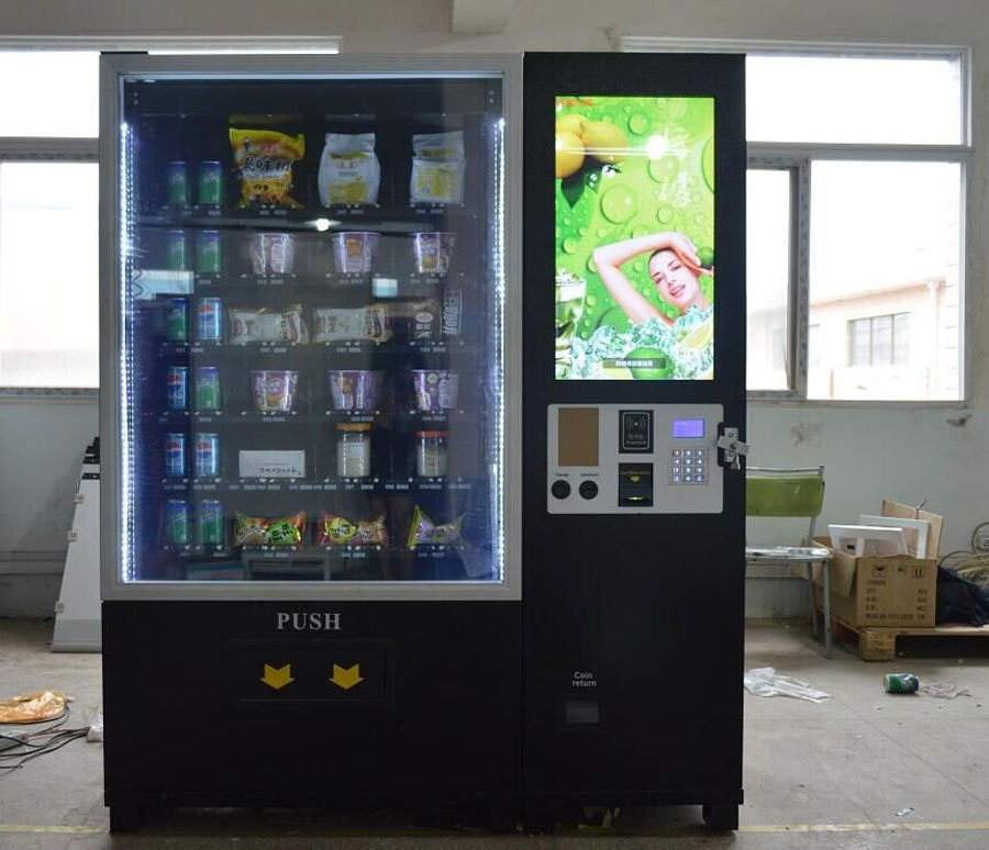 W-900L big combo vending machine with LCD monitor and lift system