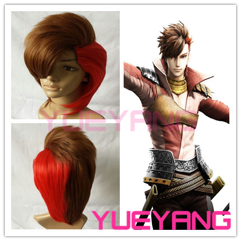 High quality brown and red Sengoku BASARA Sakon Shima cosplay wig
