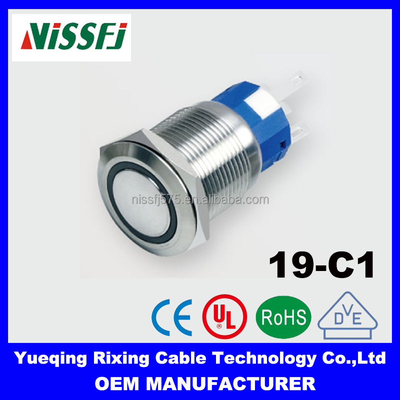 19mm ring type Illuminated led miniature push button switch