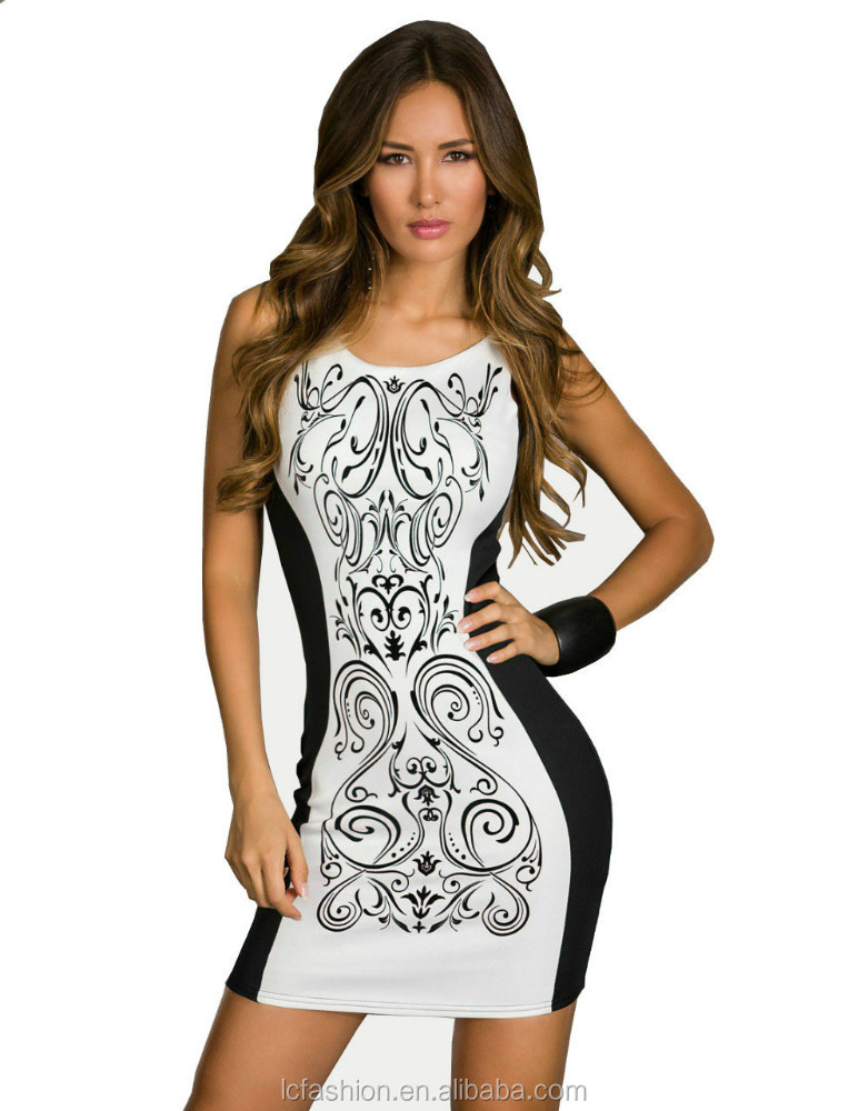 Plus Size 2015 New Fashion Women Retro Printed Black & White Patchwork Casual Bodycon Dress Sexy Summer Tank Club Dresses