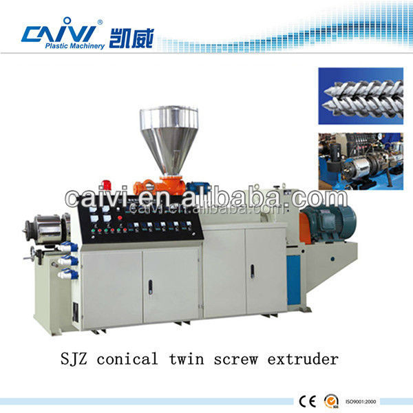Conical twin screw extruder machine for sale / conical double screw extruder for PVC pipe