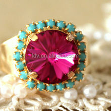 Pink Turquoise adjustable ring - 14k plated gold adjustable ring real rhinestones