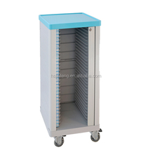 Hospital cart for medical record holders with 20 Shelves