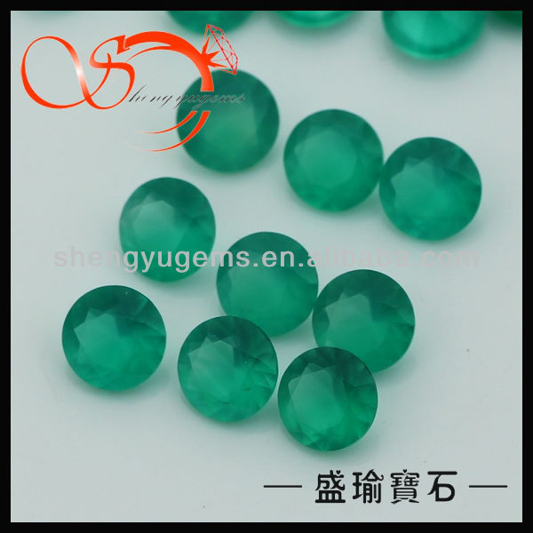 4mm round cut jadeite green agate stone(AGRD0001-4mm)