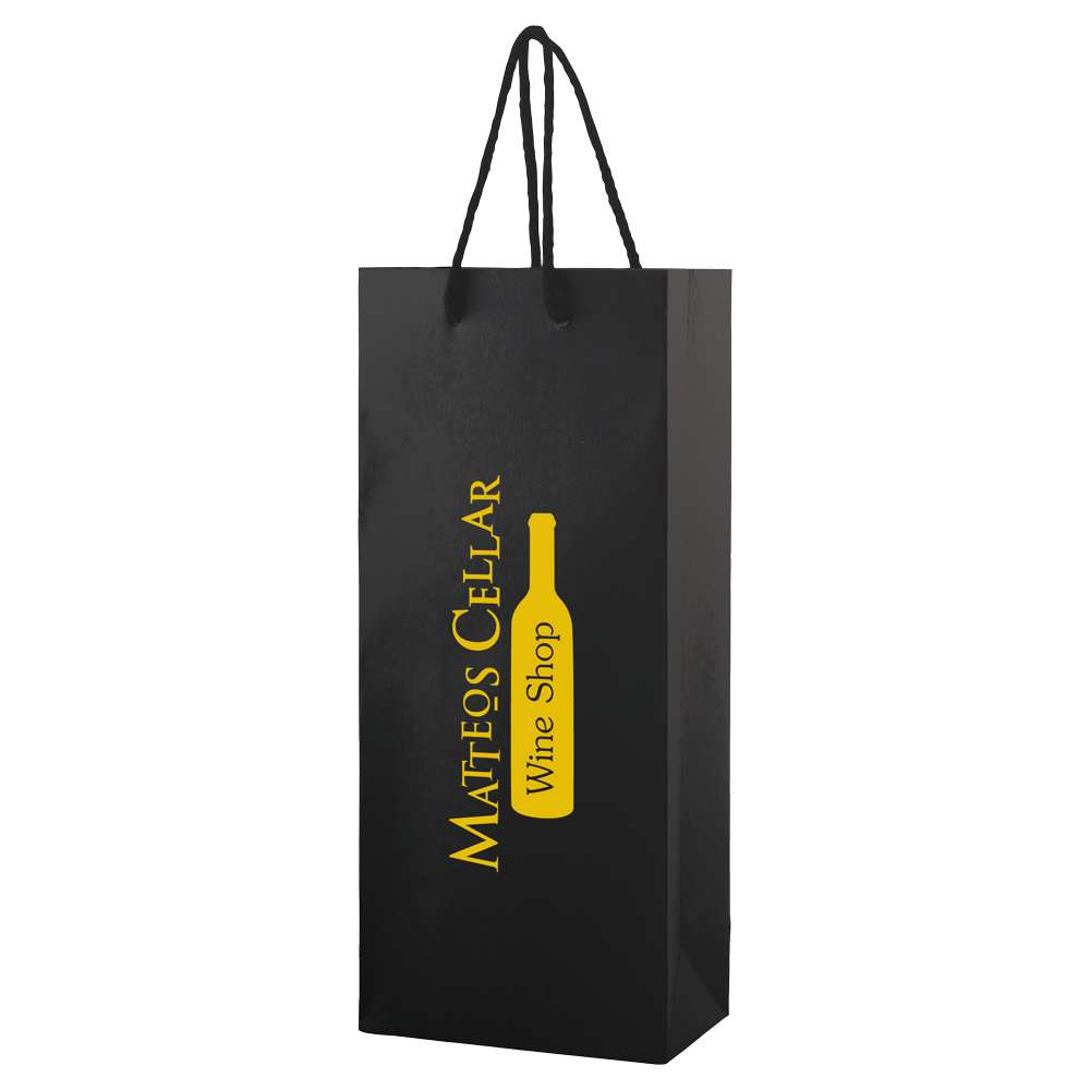"Textured Embossed Eurotote Shopping Bag - dimensions are 5.5"" x 3.25"" x 13"", fits one wine bottle and comes with your logo."