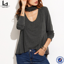 Chinese wholesaler heather grey choker neck overlap dry fit blank design t shirt