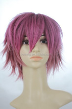 "Factory customised 8"" new School green wig synthetic cospaly wig pinkHot sales art boy's pink rose wig"