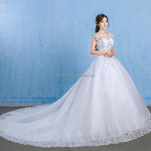 Wholesale women gorgeous lace up white long tail big size white wedding dresses