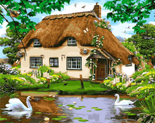 GX8291- 40*50 Hot sale village scenery oil painting on canvas diy paint by number