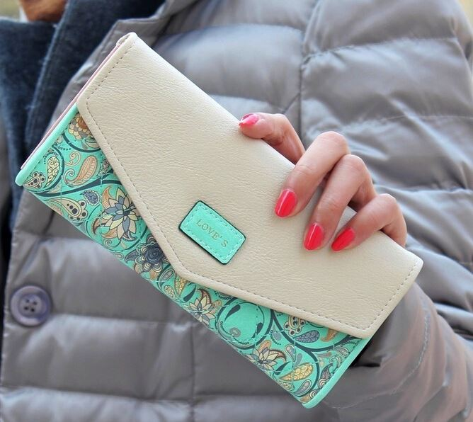 2016 Fashion Flower Women Wallet 5 Colors Long Wallets New Popular Portable Change Purse Wallet Delicate Casual Lady Cash Purse