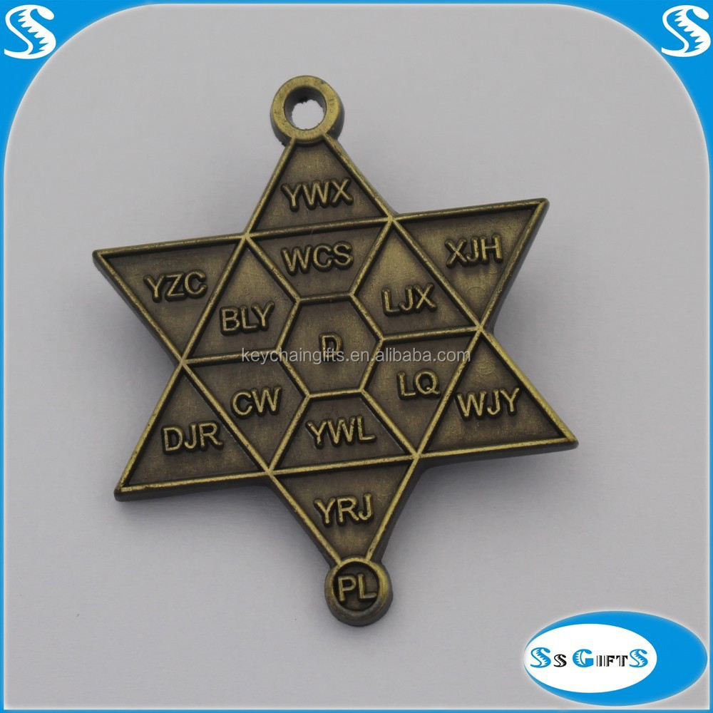 Hot Sale Factory Direct Metal Star Badge Debossed Metal Logo With Wholesale Custom