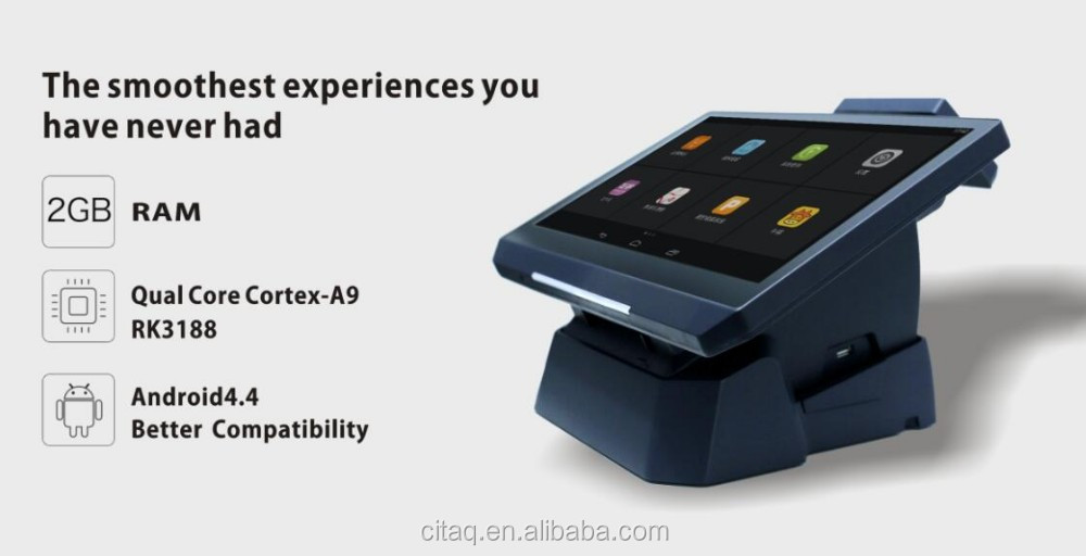 Quad Core 14'' Android POS with thermal printer,MSR and 3G