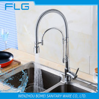 FLG8936LED 3 way LED chrome finishing pull down brass single handle sink kitchen faucet