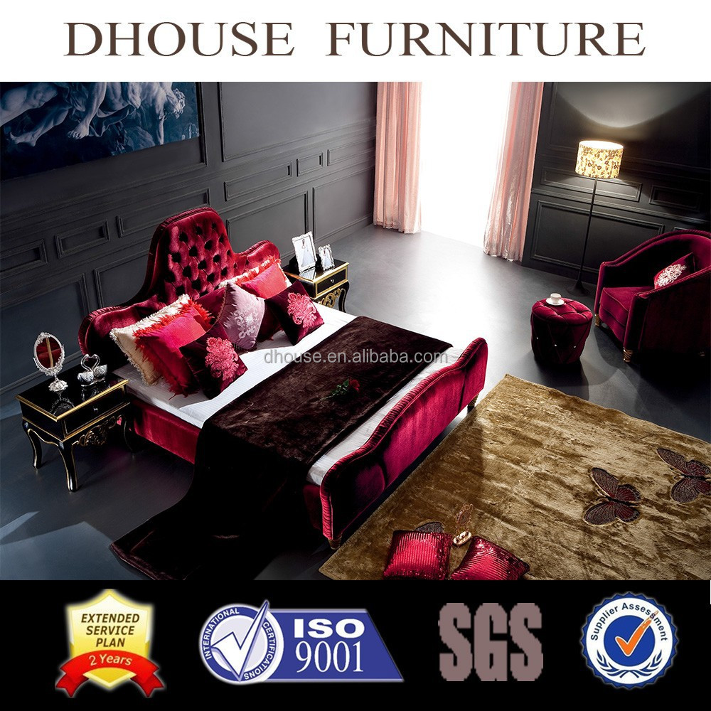 Hotel Project bedroom furniture Italy neoclassical fabric diamond crystal button beds DH020