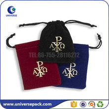 Custom Size Drawstring Velvet Gift Jewelry Pouch With Gold Logo