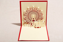 Handmade 3D Pop Up Ferris Wheel Greeting Card With Envelope for christmas