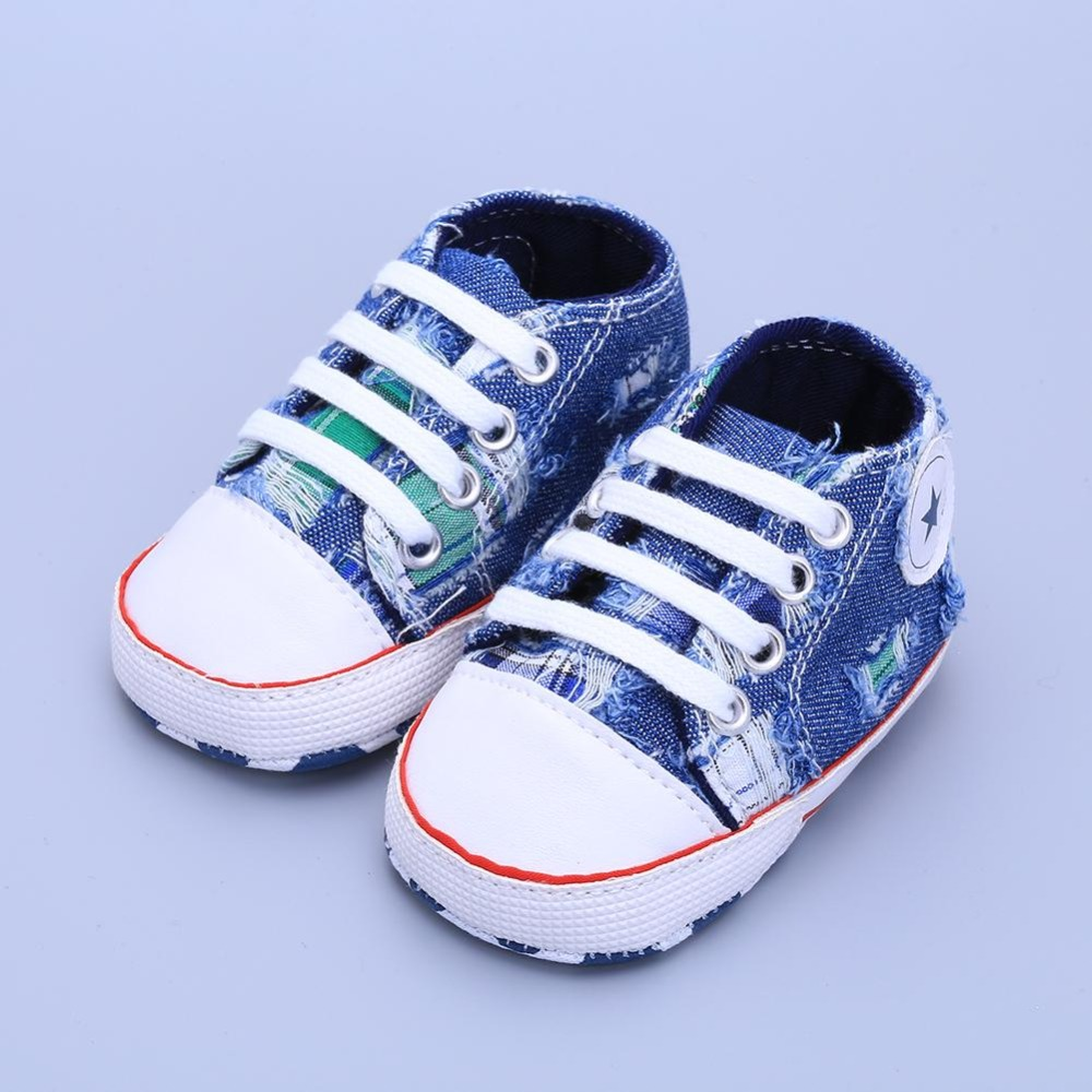 Infant Toddler Baby Girl Boy Shoes Cute Soft Sole Sneaker Prewalker Crib Hole Washed denim Cloth shoes