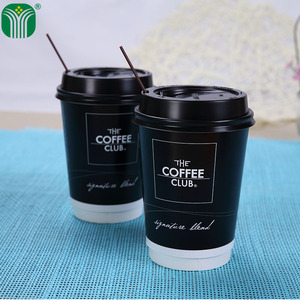 custom logo printed 16oz coffee paper cup with lid and straw