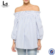 Cheap wholesale product off shoulder striped lady top with bowknot cuff