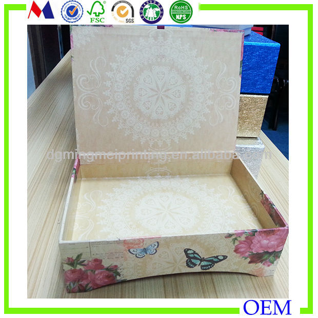 2014 butterfly design gift paper garment boxes closure with ribbon wholesale