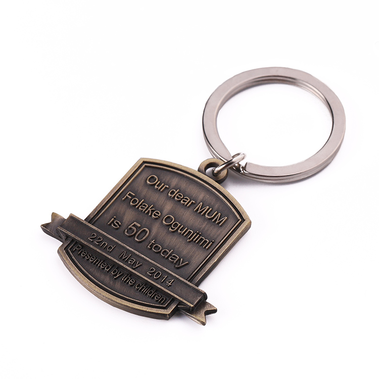 Bronze date name custom metal letter  blank keychain key ring gift for children