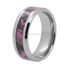 Very Nice New Pink Tree Camo Inlay Beveled Edges Tungsten Carbide Wedding Band Ring