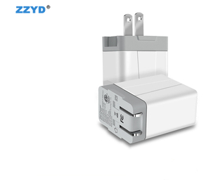 ZZYD 5V 2.4A Dual Port Travel Adapter PC Folding USB Wall Charger For Smart Phone